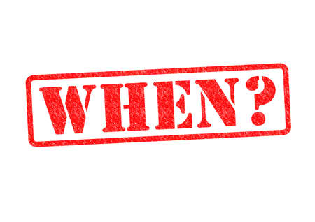 questioned: WHEN? Rubber stamp over a white background. Stock Photo