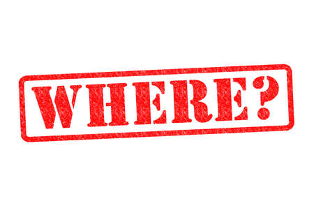 questioned: WHERE? Rubber Stamp over a white background.