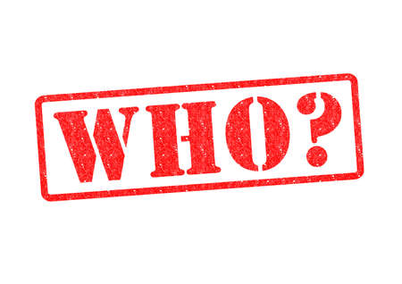 questioned: WHO? Rubber Stamp over a white background.