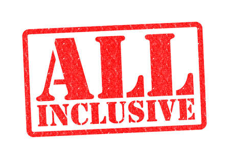 included: ALL INCLUSIVE Rubber stamp over a white background. Stock Photo