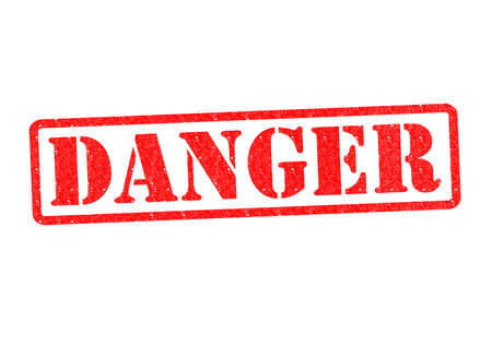 warned: DANGER Rubber Stamp over a white background. Stock Photo