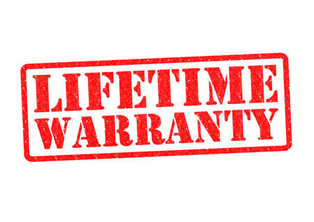LIFETIME WARRANTY Rubber stamp over a white background.