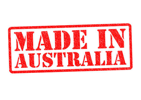MADE IN AUSTRALIA Rubber Stamp over a white background. photo