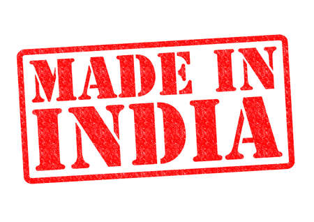 MADE IN INDIA Rubber Stamp over a white background. photo