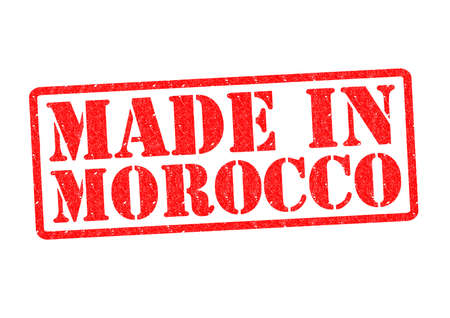 invented: MADE IN MOROCCO Rubber Stamp over a white background.