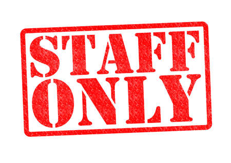 staff only: STAFF ONLY Rubber Stamp over a white background.