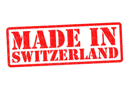 MADE IN SWITZERLAND Rubber Stamp over a white background. photo