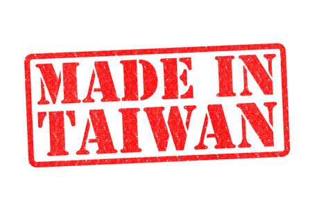 invented: MADE IN TAIWAN Rubber Stamp over a white background. Stock Photo