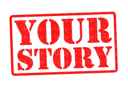 about you: YOUR STORY Rubber Stamp over a white background.