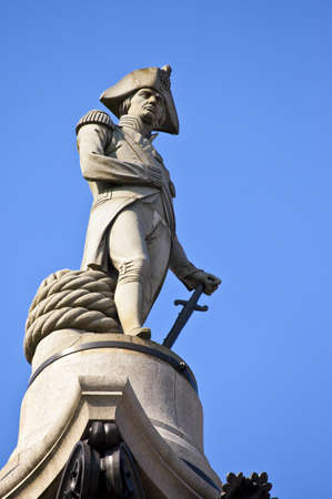 The statue of Admiral Nelson that sits ontop of Nelsons Column photo