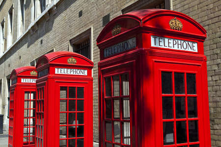 phonebooth: Iconic red telephone boxes in London  Stock Photo