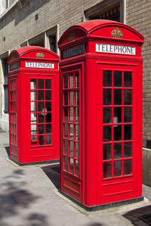 Iconic red telephone boxes in London  photo