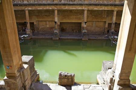 somerset: The historic Roman Baths in Bath, Somerset  Editorial