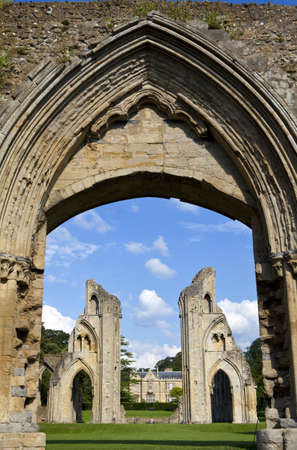 abbey ruins abbey: The historic ruins of Glastonbury Abbey in Somerset, England