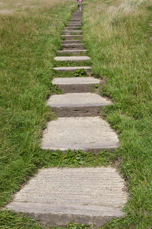 The steps leading up to the Glastonbury Tor in Somerset, England  photo