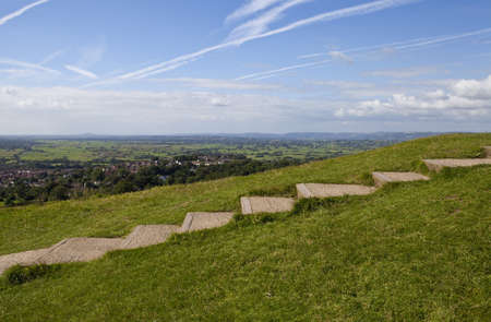 somerset: The steps leading up to the Glastonbury Tor in Somerset, England