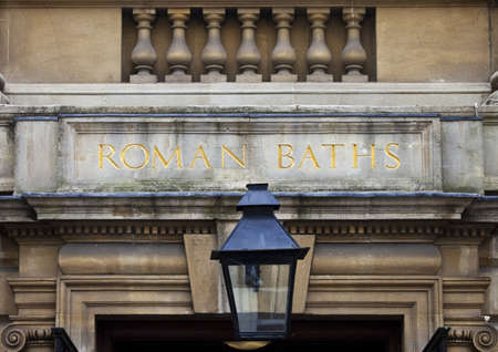 somerset: The entrance to the Roman Baths in Bath, Somerset  Stock Photo