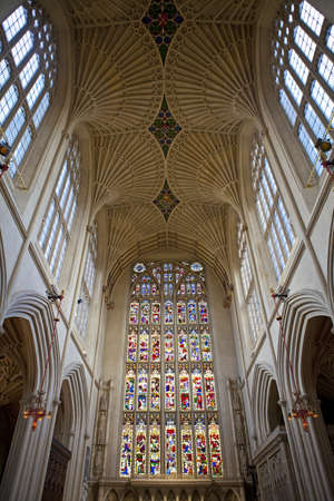 county somerset: Interior of the historic Bath Abbey