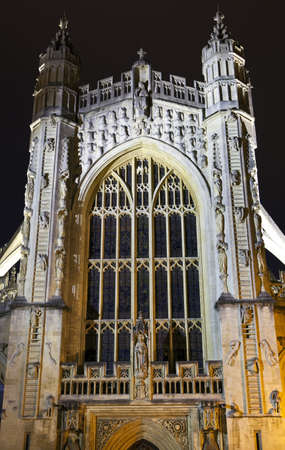 county somerset: The historic Bath Abbey at night  Stock Photo