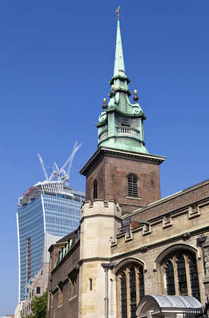 hallows: All Hallows by the Tower church is the oldest church in London   In the background is the  Walkie Talkie  building under construction at 20 Fenchurch Street
