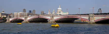 blackfriars bridge: Blackfriars Bridge in London   The dome and towers of St  Paul