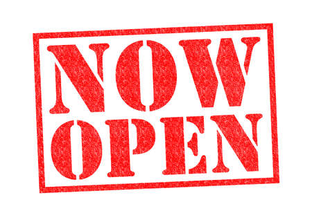 NOW OPEN Rubber Stamp over a white background. Stock Photo