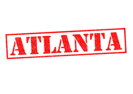 ATLANTA Rubber Stamp over a white background. photo