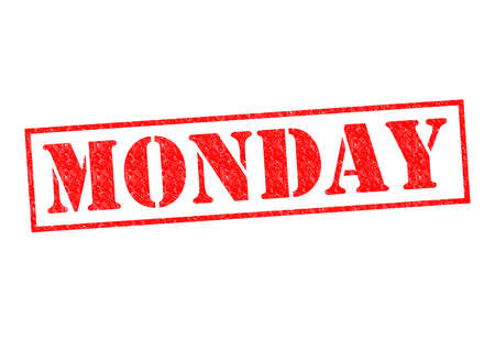 weekday: MONDAY Rubber Stamp over a white background.
