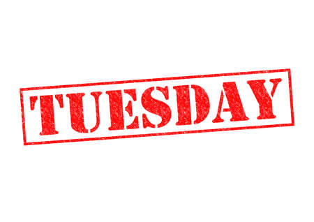 TUESDAY Rubber Stamp over a white background. Stock Photo