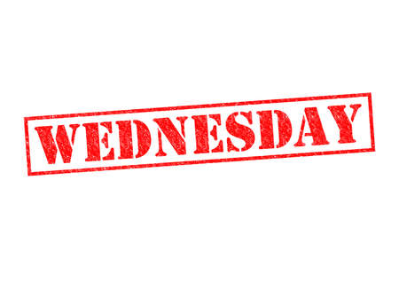 wednesday: WEDNESDAY Rubber Stamp over a white background.