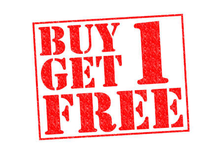 BUY 1 GET 1 FREE Rubber Stamp over a white background. photo