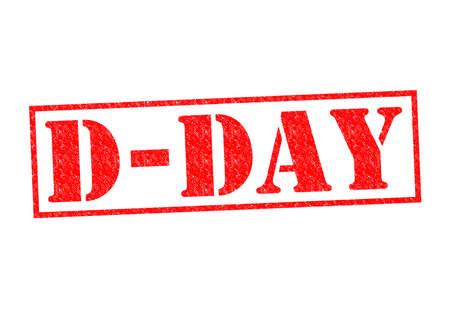 d�livrance: Rubber Stamp D-DAY sur un fond blanc. Banque d'images