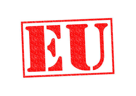 EU Rubber Stamp over a white background. photo