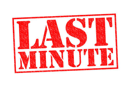 rushed: LAST MINUTE Rubber Stamp over a white background.