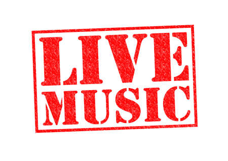 live on air: LIVE MUSIC Rubber Stamp over a white background. Stock Photo