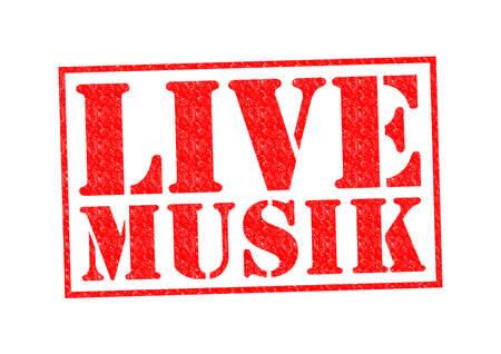 musik: LIVE MUSIK Rubber Stamp over a white background. Stock Photo
