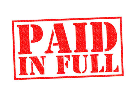 PAID IN FULL Rubber Stamp over a white background. photo