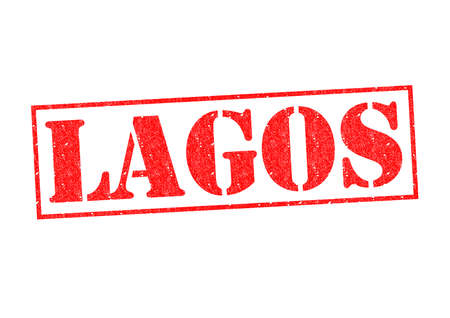 LAGOS Rubber Stamp over a white background. photo