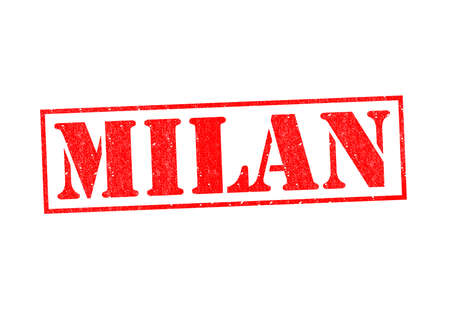 MILAN Rubber Stamp over a white background. photo
