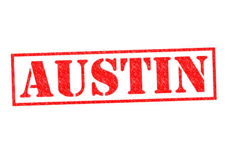 AUSTIN Rubber Stamp over a white background. photo