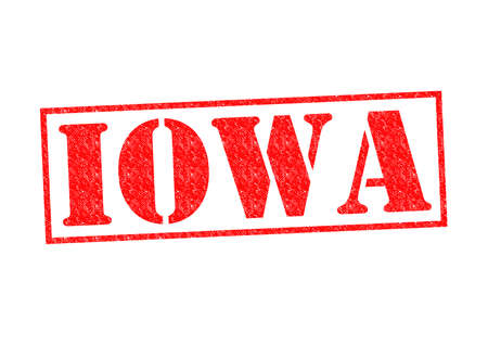 IOWA Rubber Stamp over a white background. photo