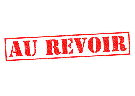 au: AU REVOIR Rubber Stamp over a white background.