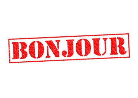 politeness: BONJOUR Rubber Stamp over a white background.