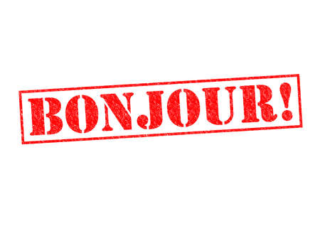 politeness: BONJOUR! Rubber Stamp over a white background.