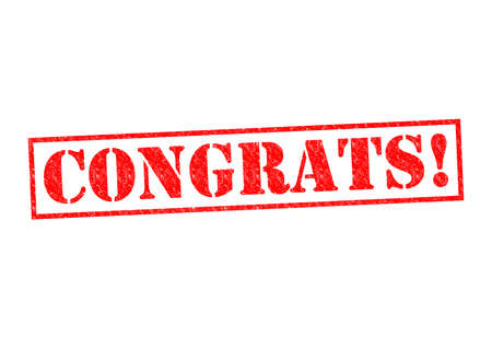 ovation: CONGRATS! Rubber Stamp over a white background.