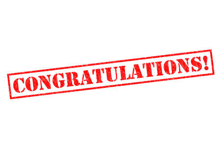 and acclaim: CONGRATULATIONS! Rubber Stamp over a white background.