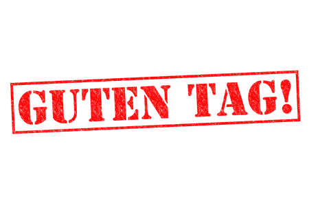 guten tag: GUTEN TAG! Rubber Stamp over a white background.