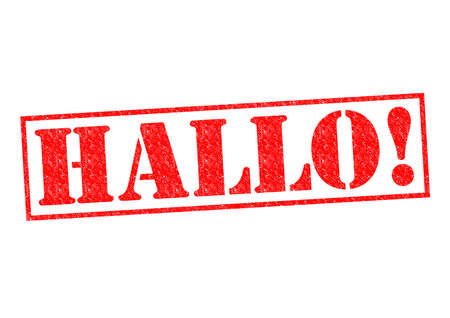 hallo: HALLO! Rubber Stamp over a white background.