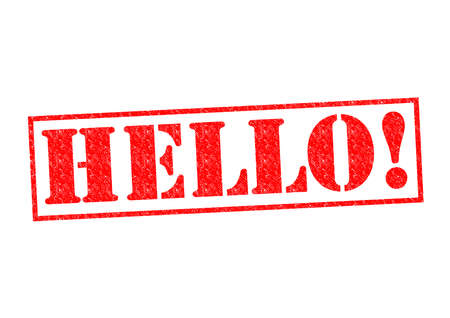 politeness: HELLO! Rubber Stamp over a white background. Stock Photo