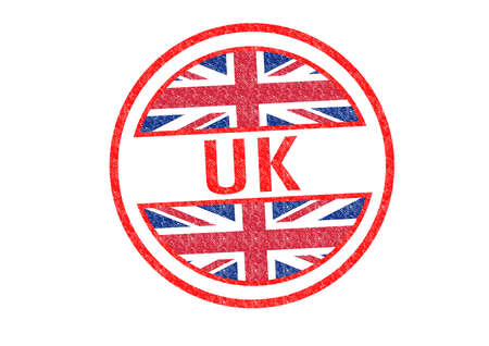 UK Rubber Stamp over a white background  photo